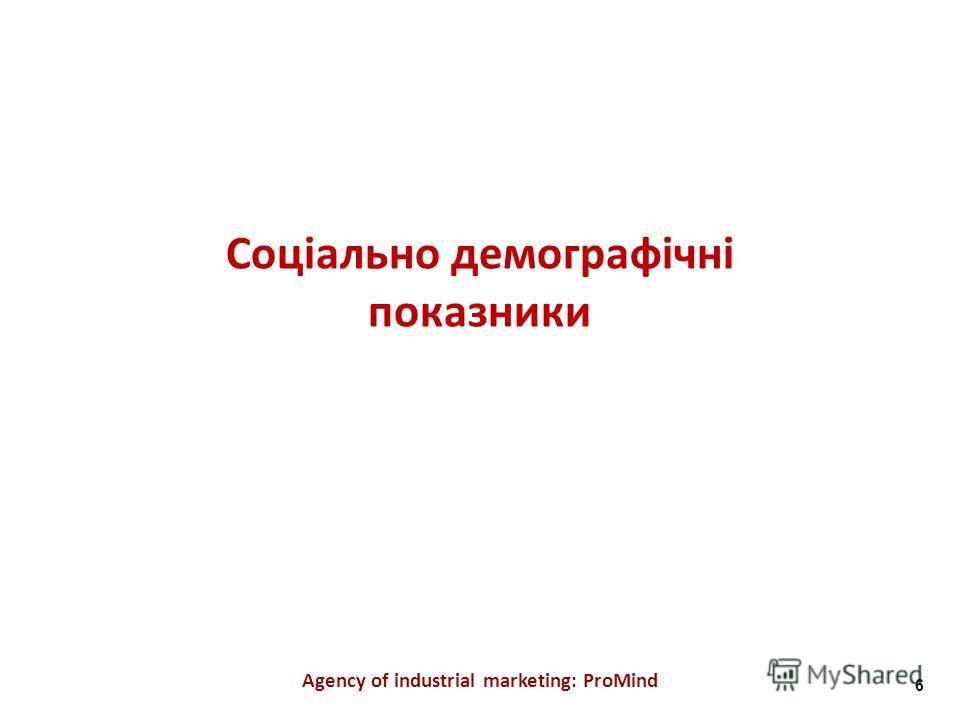 Соціально демографічні показники Agency of industrial marketing: ProMind 6