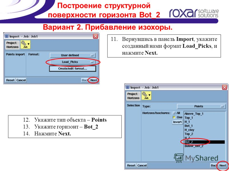 Построение структурной поверхности горизонта Bot_2 Вариант 2. Прибавление изохоры. 11.Вернувшись в панель Import, укажите созданный нами формат Load_Picks, и нажмите Next. 12.Укажите тип объекта – Points 13.Укажите горизонт – Bot_2 14.Нажмите Next.