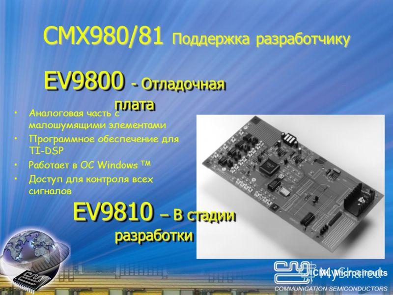 CMX980/81 Поддержка разработчику EV9800 - Отладочная плата Аналоговая часть с малошумящими элементами Программное обеспечение для TI-DSP Работает в ОС Windows TM Доступ для контроля всех сигналов EV9810 – В стадии разработки