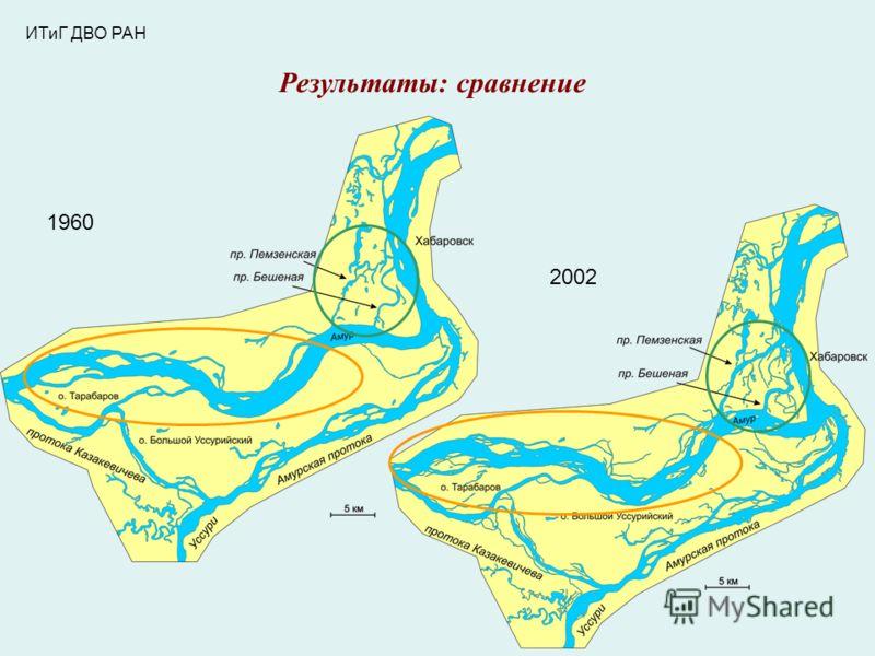 ИТиГ ДВО РАН Результаты: сравнение 1960 2002
