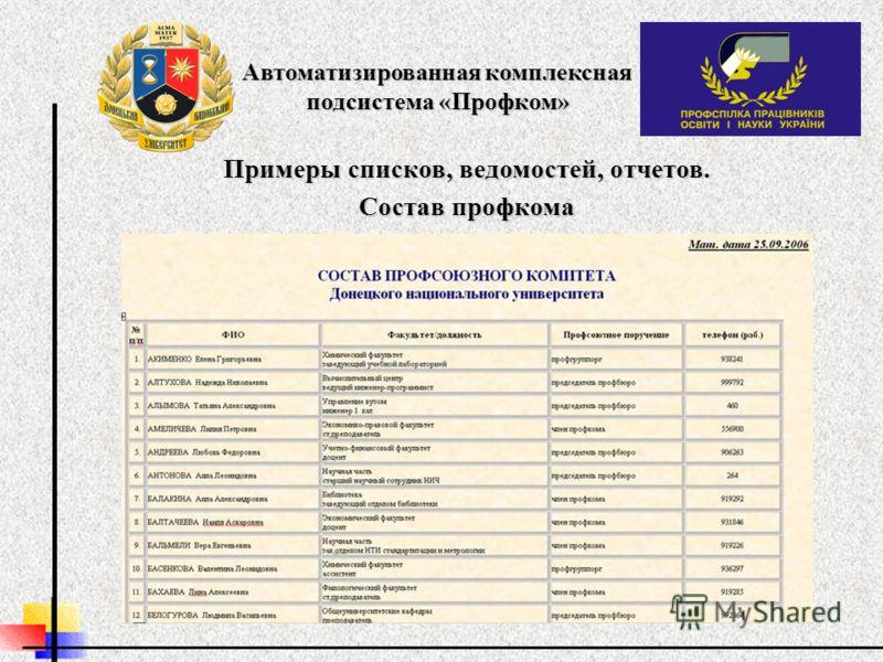 Примеры списков, ведомостей, отчетов. Состав профкома