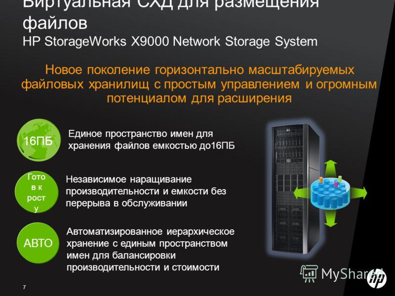 7 Виртуальная СХД для размещения файлов HP StorageWorks X9000 Network Storage System Новое поколение горизонтально масштабируемых файловых хранилищ с простым управлением и огромным потенциалом для расширения АВТО Автоматизированное иерархическое хран
