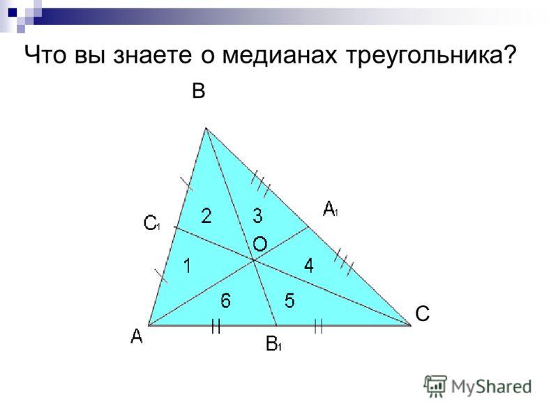 С В Что вы знаете о медианах треугольника?