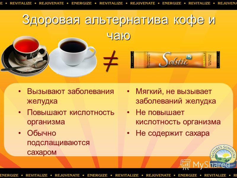 Здоровая альтернатива кофе и чаю Вызывают заболевания желудка Повышают кислотность организма Обычно подслащиваются сахаром Мягкий, не вызывает заболеваний желудка Не повышает кислотность организма Не содержит сахара