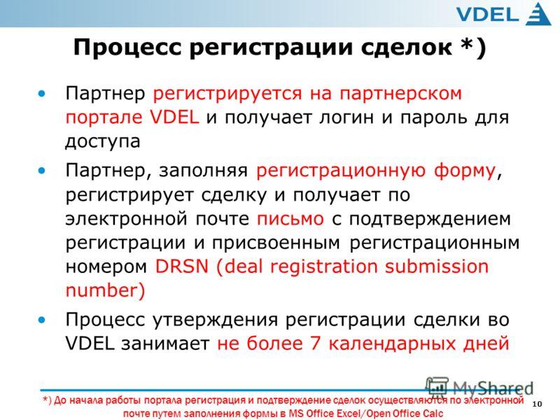 10 Процесс регистрации сделок *) Партнер регистрируется на партнерском портале VDEL и получает логин и пароль для доступа Партнер, заполняя регистрационную форму, регистрирует сделку и получает по электронной почте письмо с подтверждением регистрации