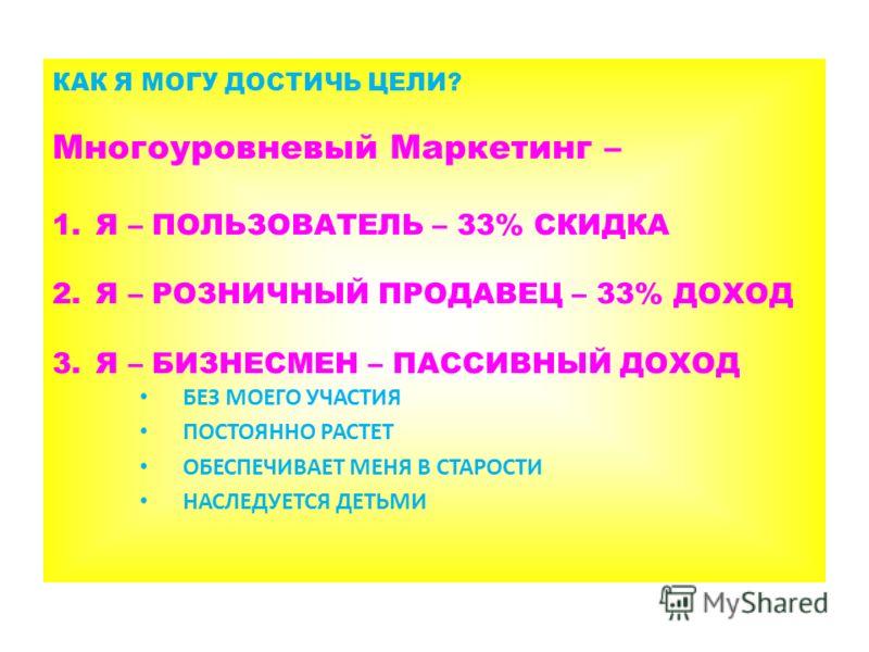 КАК Я МОГУ ДОСТИЧЬ ЦЕЛИ? Многоуровневый Маркетинг – 1.Я – ПОЛЬЗОВАТЕЛЬ – 33% СКИДКА 2.Я – РОЗНИЧНЫЙ ПРОДАВЕЦ – 33% ДОХОД 3.Я – БИЗНЕСМЕН – ПАССИВНЫЙ ДОХОД БЕЗ МОЕГО УЧАСТИЯ ПОСТОЯННО РАСТЕТ ОБЕСПЕЧИВАЕТ МЕНЯ В СТАРОСТИ НАСЛЕДУЕТСЯ ДЕТЬМИ