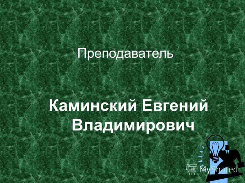 Преподаватель Каминский Евгений Владимирович