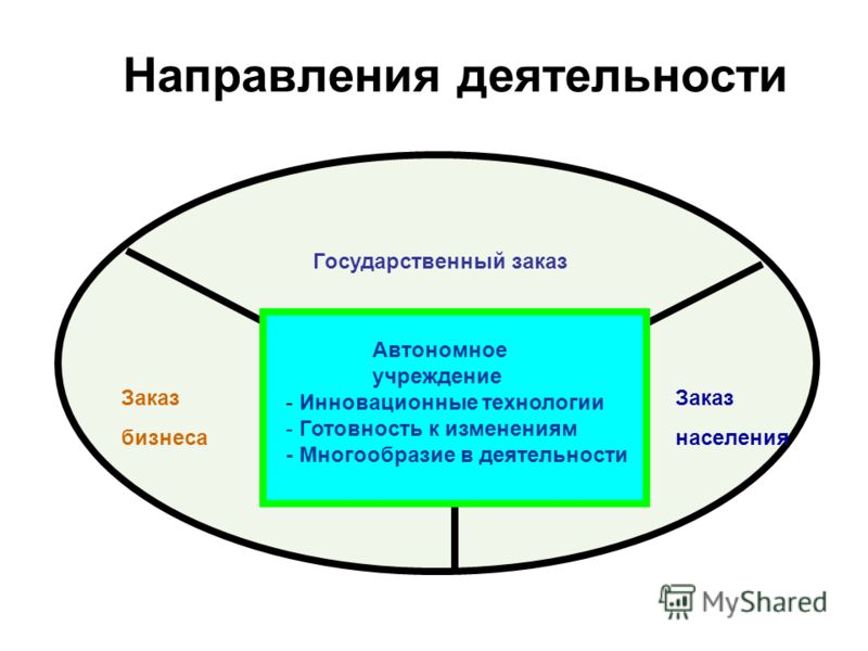 Направления деятельности Автономное учреждение - Инновационные технологии - Готовность к изменениям - Многообразие в деятельности Государственный заказ Заказ бизнеса Заказ населения