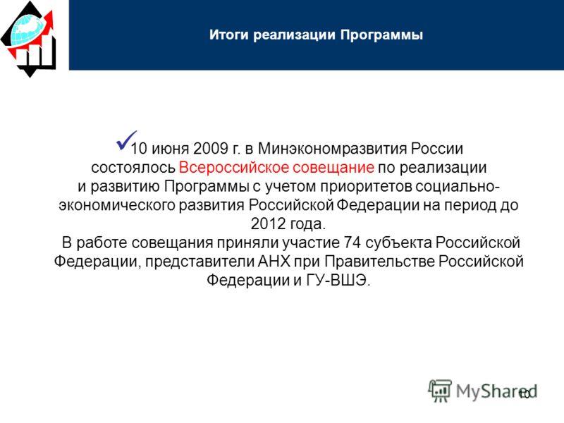 10 10 июня 2009 г. в Минэкономразвития России состоялось Всероссийское совещание по реализации и развитию Программы с учетом приоритетов социально- экономического развития Российской Федерации на период до 2012 года. В работе совещания приняли участи