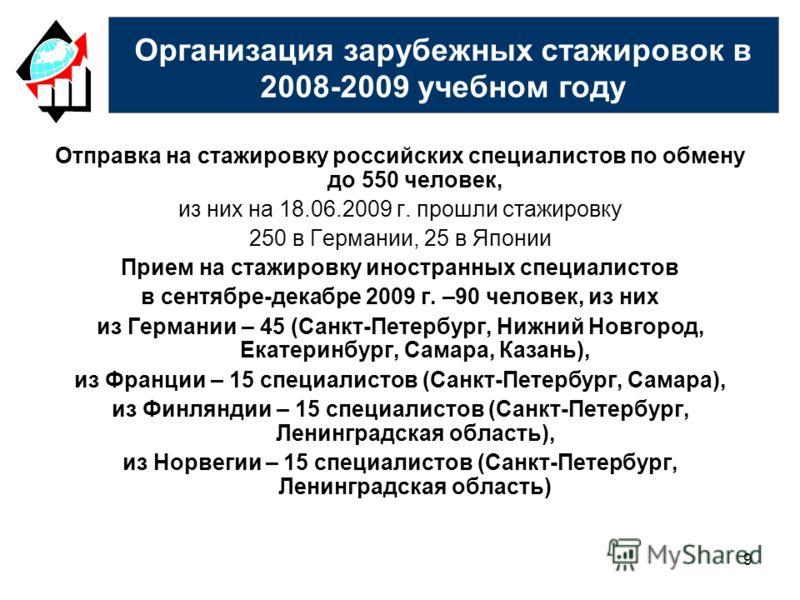 9 Отправка на стажировку российских специалистов по обмену до 550 человек, из них на 18.06.2009 г. прошли стажировку 250 в Германии, 25 в Японии Прием на стажировку иностранных специалистов в сентябре-декабре 2009 г. –90 человек, из них из Германии –