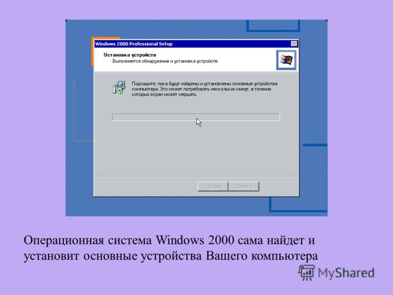 Операционная система Windows 2000 сама найдет и установит основные устройства Вашего компьютера