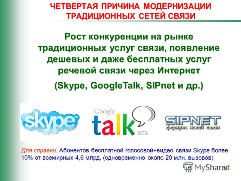 6 ЧЕТВЕРТАЯ ПРИЧИНА МОДЕРНИЗАЦИИ ТРАДИЦИОННЫХ СЕТЕЙ СВЯЗИ Рост конкуренции на рынке традиционных услуг связи, появление дешевых и даже бесплатных услуг речевой связи через Интернет (Skype, GoogleTalk, SIPnet и др.) Для справки: Абонентов бесплатной г