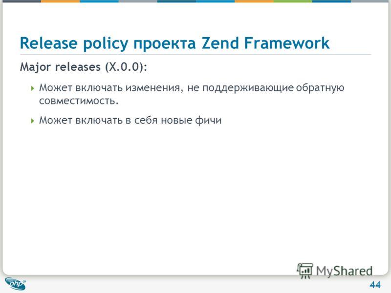 44 Release policy проекта Zend Framework Major releases (X.0.0): Может включать изменения, не поддерживающие обратную совместимость. Может включать в себя новые фичи