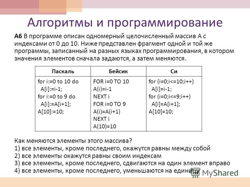Алгоритмы и программирование А 6 В программе описан одномерный целочисленный массив A с индексами от 0 до 10. Ниже представлен фрагмент одной и той же программы, записанный на разных языках программирования, в котором значения элементов сначала задаю
