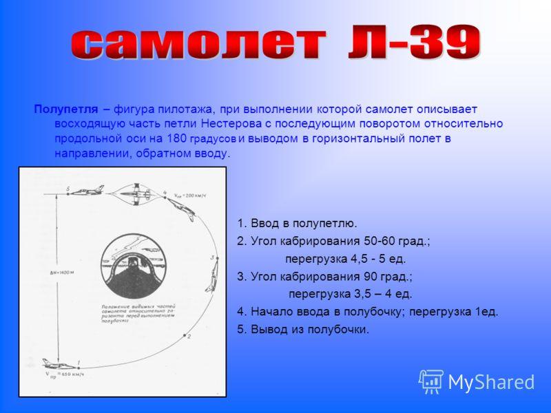 Полупетля – фигура пилотажа, при выполнении которой самолет описывает восходящую часть петли Нестерова с последующим поворотом относительно продольной оси на 180 градусов и выводом в горизонтальный полет в направлении, обратном вводу. 1. Ввод в полуп