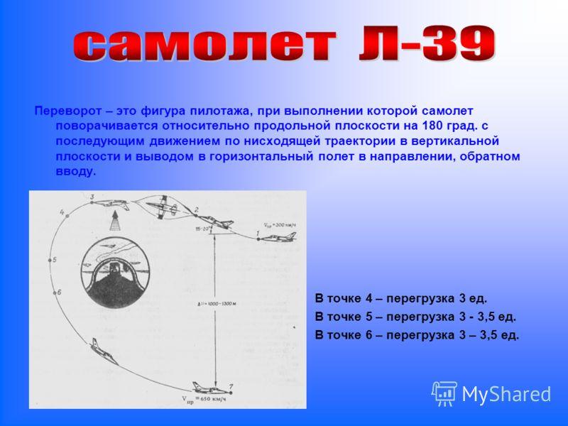 Переворот – это фигура пилотажа, при выполнении которой самолет поворачивается относительно продольной плоскости на 180 град. с последующим движением по нисходящей траектории в вертикальной плоскости и выводом в горизонтальный полет в направлении, об