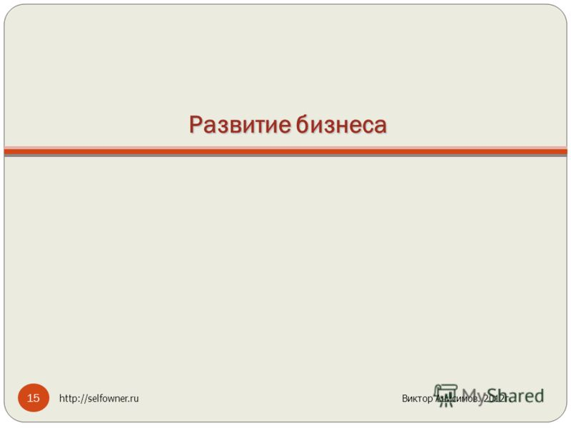 Развитие бизнеса 15 http://selfowner.ru Виктор Анисимов. 2012г.