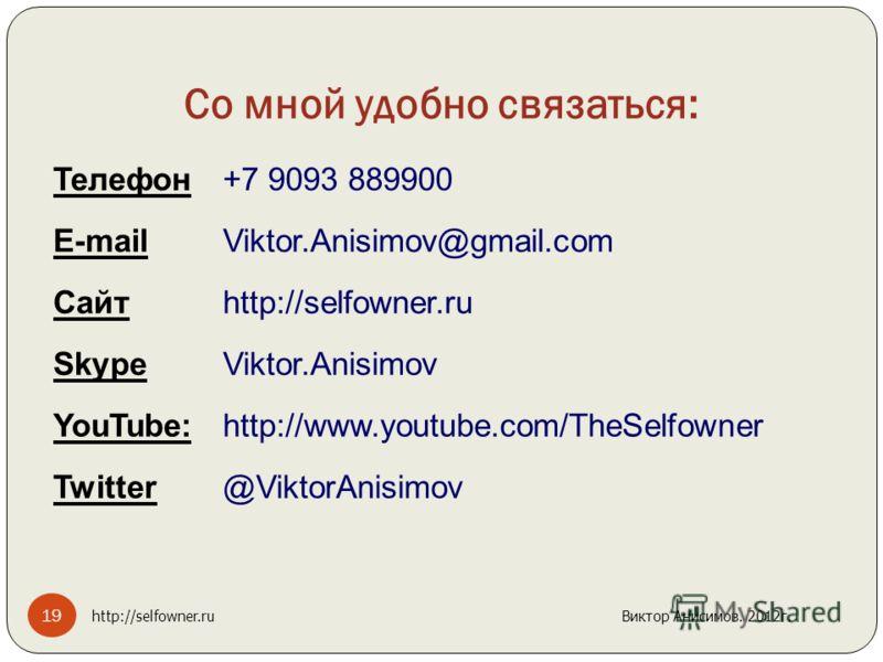 Со мной удобно связаться: Телефон+7 9093 889900 E-mailViktor.Anisimov@gmail.com Сайтhttp://selfowner.ru SkypeViktor.Anisimov YouTube:http://www.youtube.com/TheSelfowner Twitter@ViktorAnisimov 19 http://selfowner.ru Виктор Анисимов. 2012г.
