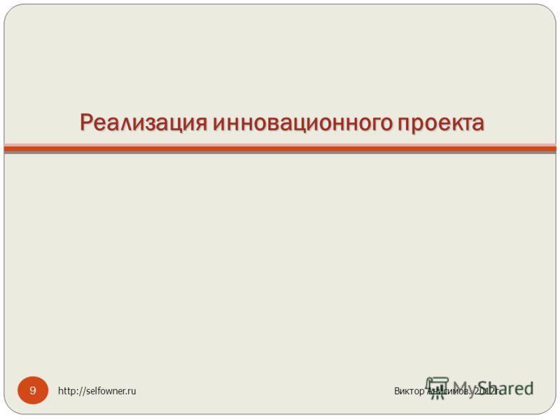 Реализация инновационного проекта 9 http://selfowner.ru Виктор Анисимов. 2012г.