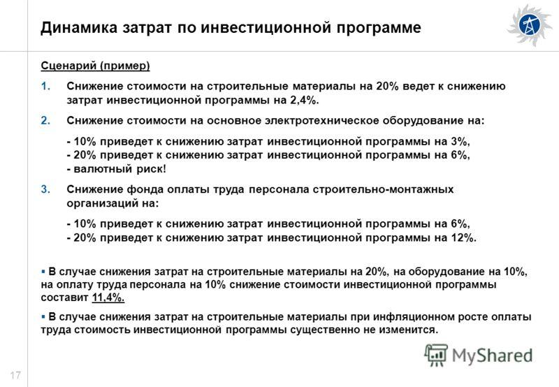 17 Динамика затрат по инвестиционной программе Сценарий (пример) 1.Снижение стоимости на строительные материалы на 20% ведет к снижению затрат инвестиционной программы на 2,4%. 2.Снижение стоимости на основное электротехническое оборудование на: - 10