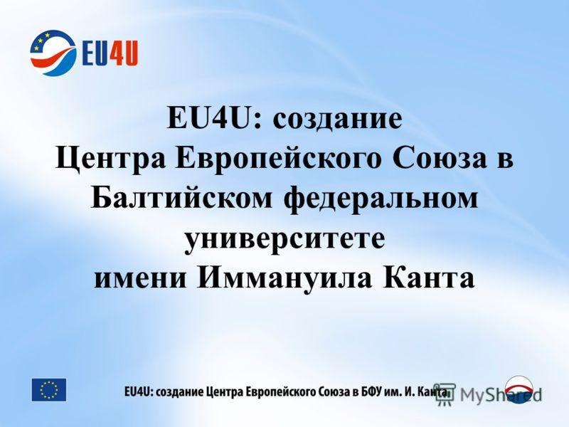 EU4U: создание Центра Европейского Союза в Балтийском федеральном университете имени Иммануила Канта