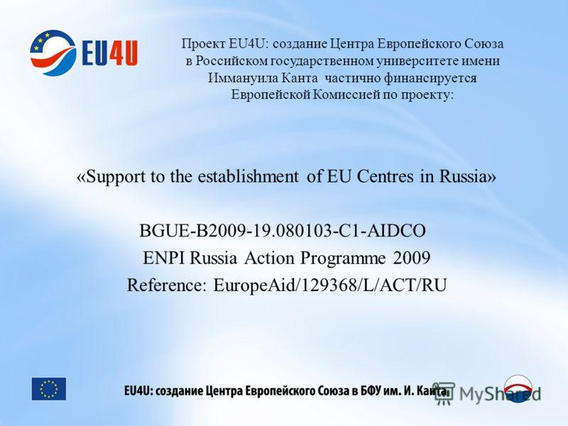 Проект EU4U: создание Центра Европейского Союза в Российском государственном университете имени Иммануила Канта частично финансируется Европейской Комиссией по проекту: «Support to the establishment of EU Centres in Russia» BGUE-B2009-19.080103-C1-AI