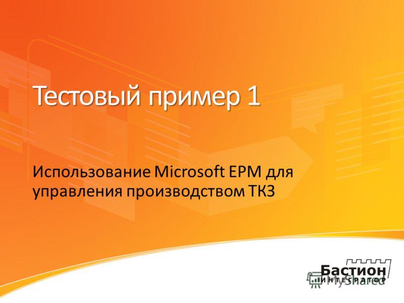 Тестовый пример 1 Использование Microsoft EPM для управления производством ТКЗ