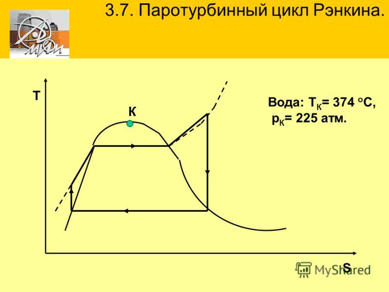 3.7. Паротурбинный цикл Рэнкина. S Т К Вода: Т К = 374 о С, р К = 225 атм.