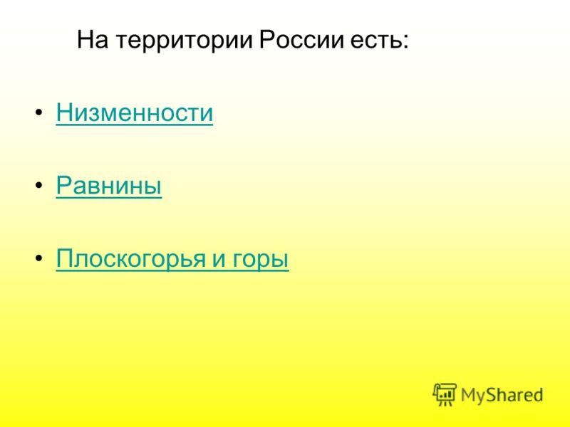 На территории России есть: Низменности Равнины Плоскогорья и горы
