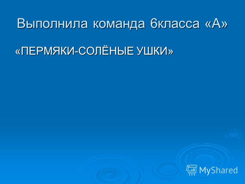 Выполнила команда 6класса «А» «ПЕРМЯКИ-СОЛЁНЫЕ УШКИ»