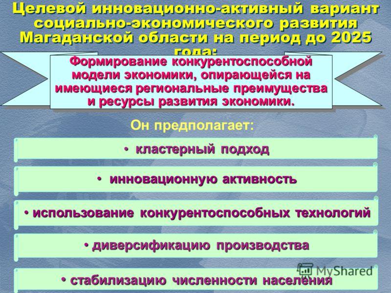1212 Целевой инновационно-активный вариант социально-экономического развития Магаданской области на период до 2025 года: диверсификацию производства диверсификацию производства инновационную активность инновационную активность стабилизацию численност