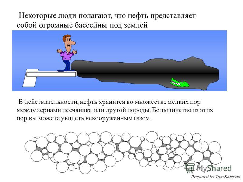 Некоторые люди полагают, что нефть представляет собой огромные бассейны под землей В действительности, нефть хранится во множестве мелких пор между зернами песчаника или другой породы. Большинство из этих пор вы можете увидеть невооруженным газом. Pr