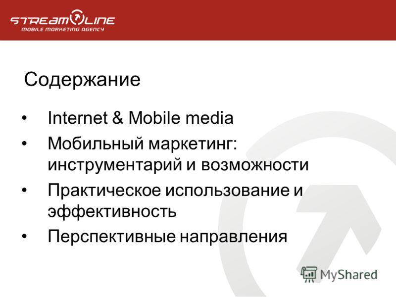 Содержание Internet & Mobile media Мобильный маркетинг: инструментарий и возможности Практическое использование и эффективность Перспективные направления