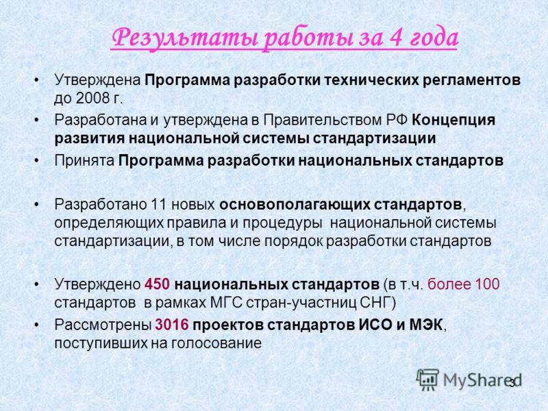 3 Результаты работы за 4 года Утверждена Программа разработки технических регламентов до 2008 г. Разработана и утверждена в Правительством РФ Концепция развития национальной системы стандартизации Принята Программа разработки национальных стандартов