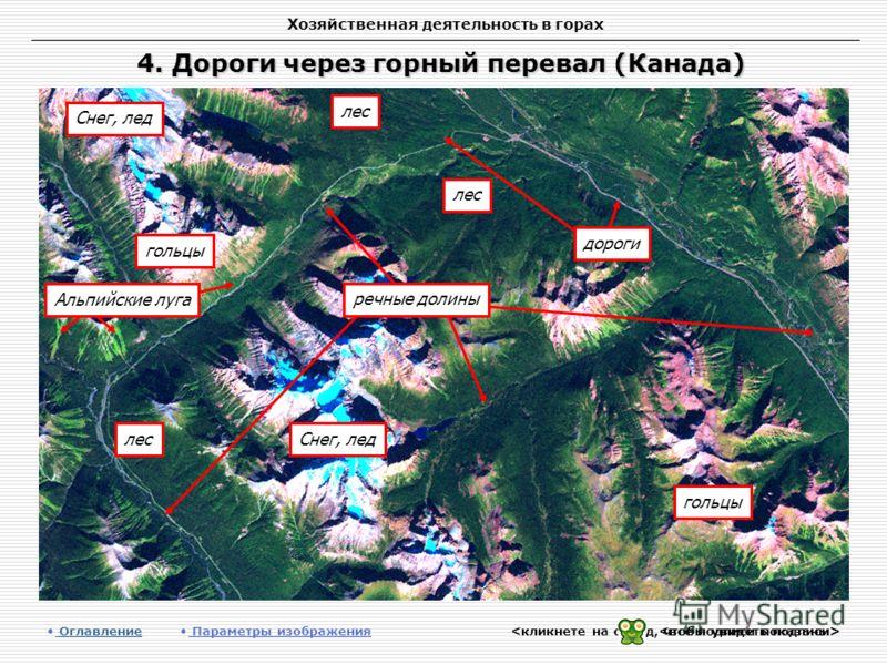 Хозяйственная деятельность в горах 4. Дороги через горный перевал (Канада) Оглавление Оглавление Параметры изображения лес гольцы Снег, лед Альпийские луга речные долины дороги