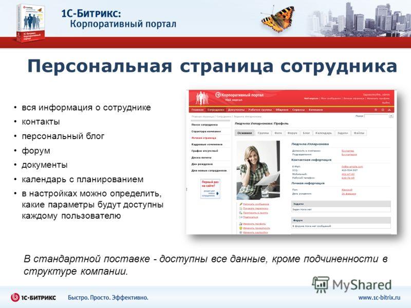 Персональная страница сотрудника вся информация о сотруднике контакты персональный блог форум документы календарь с планированием в настройках можно определить, какие параметры будут доступны каждому пользователю В стандартной поставке - доступны все