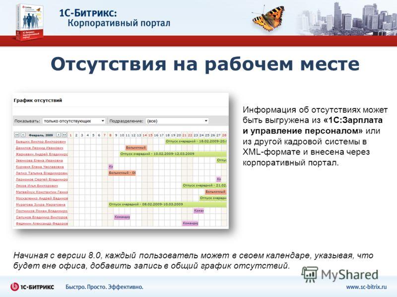 Отсутствия на рабочем месте Информация об отсутствиях может быть выгружена из «1С:Зарплата и управление персоналом» или из другой кадровой системы в XML-формате и внесена через корпоративный портал. Начиная с версии 8.0, каждый пользователь может в с