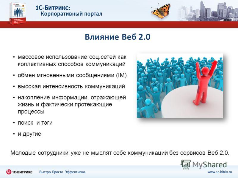 Влияние Веб 2.0 массовое использование соц.сетей как коллективных способов коммуникаций обмен мгновенными сообщениями (IM) высокая интенсивность коммуникаций накопление информации, отражающей жизнь и фактически протекающие процессы поиск и тэги и дру