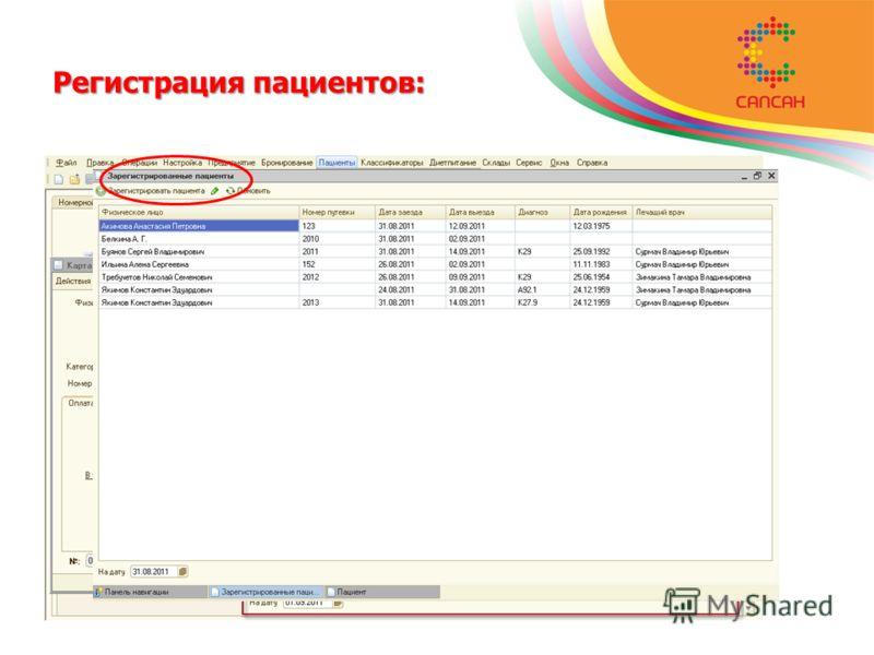 Регистрация пациентов: регистрация персональных данных пациентов; регистрация заказов пациентов; планирование даты и времени услуг.