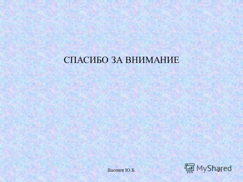 Васенев Ю.Б.21 СПАСИБО ЗА ВНИМАНИЕ