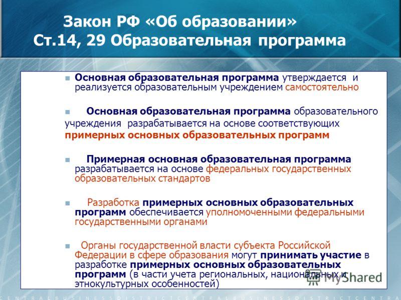 6 Закон РФ «Об образовании» Ст.14, 29 Образовательная программа Основная образовательная программа утверждается и реализуется образовательным учреждением самостоятельно Основная образовательная программа образовательного учреждения разрабатывается на