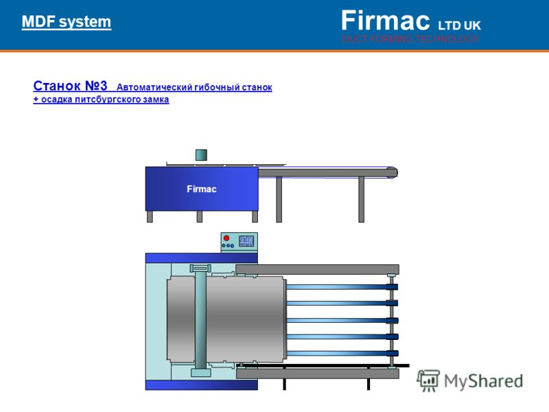 Firmac LTD UK DUCT FORMING TECHNOLOGY MDF system Firmac Станок 3 Автоматический гибочный станок + осадка питсбургского замка