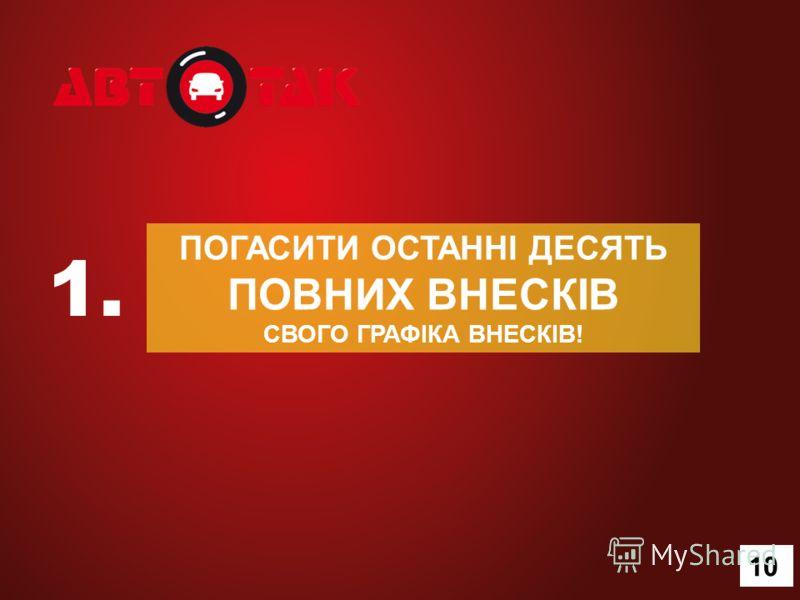 ПОГАСИТИ ОСТАННІ ДЕСЯТЬ ПОВНИХ ВНЕСКІВ СВОГО ГРАФІКА ВНЕСКІВ! 1. 13 10