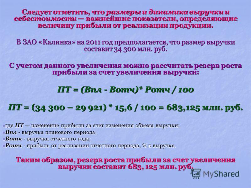 Следует отметить, что размеры и динамика выручки и себестоимости важнейшие показатели, определяющие величину прибыли от реализации продукции. В ЗАО «Калинка» на 2011 год предполагается, что размер выручки составит 34 300 млн. руб. С учетом данного ув