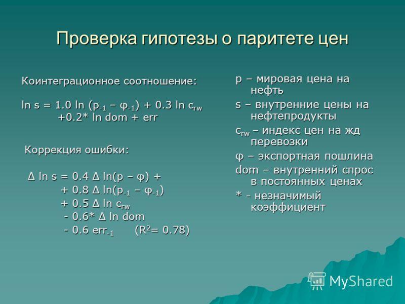 Коррекция ошибки: Δ ln s = 0.4 Δ ln(p – φ) + Δ ln s = 0.4 Δ ln(p – φ) + + 0.8 Δ ln(p -1 – φ -1 ) + 0.8 Δ ln(p -1 – φ -1 ) + 0.5 Δ ln c rw + 0.5 Δ ln c rw - 0.6* Δ ln dom - 0.6* Δ ln dom - 0.6 err -1 (R 2 = 0.78) - 0.6 err -1 (R 2 = 0.78) p – мировая