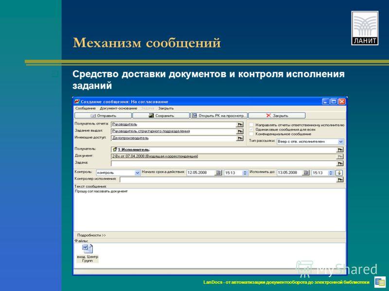 LanDocs - от автоматизации документооборота до электронной библиотеки Механизм сообщений Средство доставки документов и контроля исполнения заданий