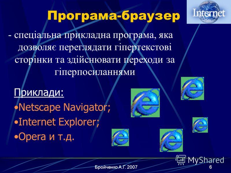 Бройченко А.Г. 20075 Гіпертекстовий документ - це документ, який містить текст, графіку, анімацію, відео- та аудіоінформацію, а також спеціальні області – гіперпосилання.гіпер