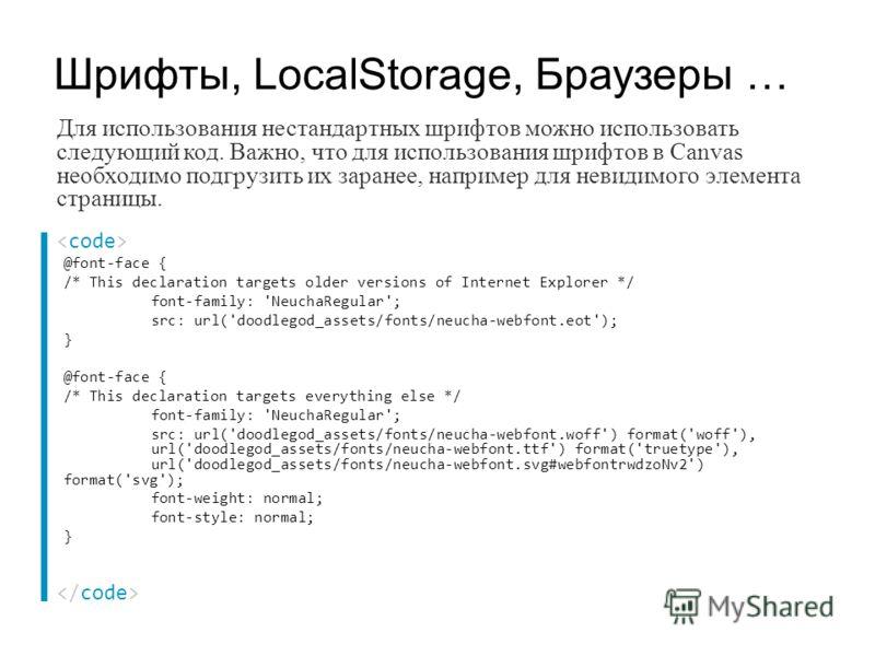 Для использования нестандартных шрифтов можно использовать следующий код. Важно, что для использования шрифтов в Canvas необходимо подгрузить их заранее, например для невидимого элемента страницы. Шрифты, LocalStorage, Браузеры … @font-face { /* This
