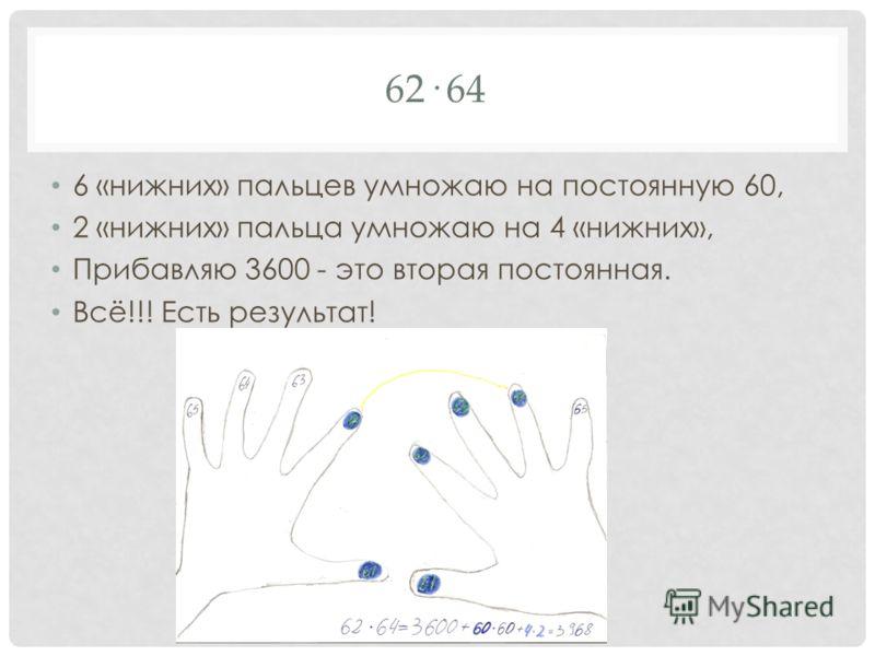 62· 64 6 «нижних» пальцев умножаю на постоянную 60, 2 «нижних» пальца умножаю на 4 «нижних», Прибавляю 3600 - это вторая постоянная. Всё!!! Есть результат!