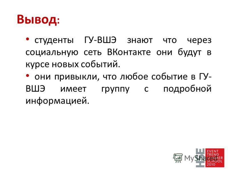 студенты ГУ-ВШЭ знают что через социальную сеть ВКонтакте они будут в курсе новых событий. они привыкли, что любое событие в ГУ- ВШЭ имеет группу с подробной информацией. Вывод :